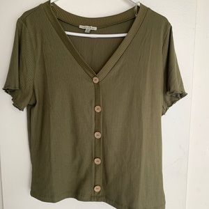 Plus size green crop top